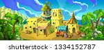 fairytale arab town with... | Shutterstock .eps vector #1334152787