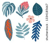summer exotic tropical set.... | Shutterstock .eps vector #1334185667