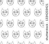cute cats. cartoon print.... | Shutterstock .eps vector #1334203421