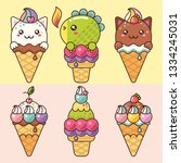 lovely delicious ice cream with ...   Shutterstock . vector #1334245031