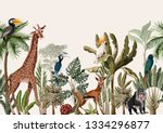 seamless border with tropical... | Shutterstock .eps vector #1334296877