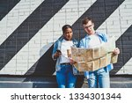 caucasian young man together... | Shutterstock . vector #1334301344