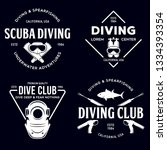set of scuba diving club and... | Shutterstock .eps vector #1334393354