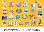 world travel hand drawn tags ... | Shutterstock .eps vector #1334449307