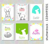 set of hand drawn easter card... | Shutterstock .eps vector #1334495501