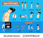bad postures that cause spine... | Shutterstock .eps vector #1334498624