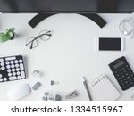 top view of office desk table... | Shutterstock . vector #1334515967