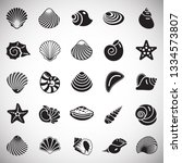 Stock vector sea shell icons set on white background for graphic and web design simple vector sign internet 1334573807