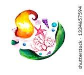 watercolor illustration. a... | Shutterstock . vector #1334657594