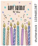 happy birthday greeting card... | Shutterstock .eps vector #1334681387
