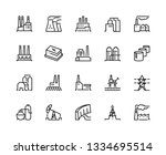 factory line icons. industry... | Shutterstock .eps vector #1334695514