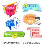 quick tip labels. tips and... | Shutterstock .eps vector #1334696537