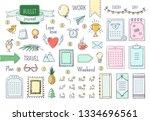 journal hand drawn elements.... | Shutterstock .eps vector #1334696561
