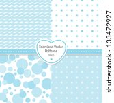 Vector Set Of 4 Seamless Blue...