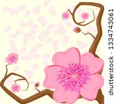two branches of sakura with...   Shutterstock .eps vector #1334743061
