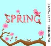 pink bird sitting on the...   Shutterstock .eps vector #1334743064