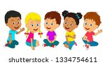 kids  boys and girls are... | Shutterstock .eps vector #1334754611