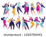 set of young happy dancing... | Shutterstock .eps vector #1334783441