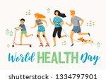 world health day. healthy... | Shutterstock .eps vector #1334797901