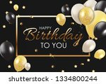 glossy happy birthday balloons... | Shutterstock . vector #1334800244