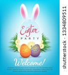 easter party invitation. happy... | Shutterstock .eps vector #1334809511