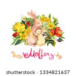 mother rabbit embrace her small ... | Shutterstock . vector #1334821637