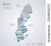 sweden vector map with... | Shutterstock .eps vector #1334826221