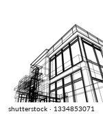 architectural drawing  modern... | Shutterstock .eps vector #1334853071