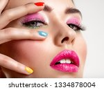 beautiful fashion woman with a... | Shutterstock . vector #1334878004