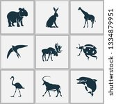 fauna icons set with capybara ... | Shutterstock .eps vector #1334879951