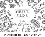 vector illustration of grill... | Shutterstock .eps vector #1334895407