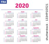 french calendar 2020 ... | Shutterstock .eps vector #1334910521