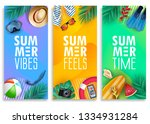 colorful summer vertical banner ... | Shutterstock .eps vector #1334931284
