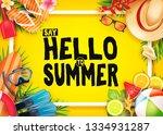 hello summer top view realistic ... | Shutterstock .eps vector #1334931287