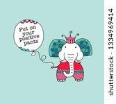 elephant wearing polka dot... | Shutterstock .eps vector #1334969414
