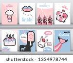 set of birthday cards on retro... | Shutterstock .eps vector #1334978744
