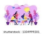 group of friends sitting at the ... | Shutterstock .eps vector #1334999201
