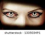 Evil Bloody Female Zombie Eyes...