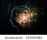 Artistic background made of outlines of human head, technological and fractal elements for use with projects on artificial intelligence, computer science and future technologies - stock photo