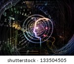 Backdrop of outlines of human head, technological and fractal elements on the subject of artificial intelligence, computer science and future technologies - stock photo