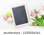 easter greeting card with tulip ...   Shutterstock . vector #1335056261
