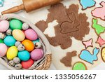 easter greeting card with... | Shutterstock . vector #1335056267