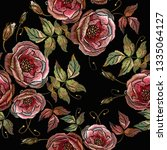 embroidery wild roses seamless... | Shutterstock .eps vector #1335064127