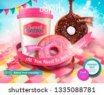 delicious donuts with take out... | Shutterstock .eps vector #1335088781