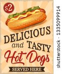 vintage delicious and tasty hot ... | Shutterstock .eps vector #1335099914