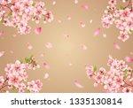 cherry blossom sakura on gold... | Shutterstock .eps vector #1335130814