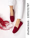 girl high fashion red moccasin... | Shutterstock . vector #1335151787