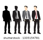 set of silhouettes man standing ... | Shutterstock .eps vector #1335154781
