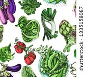 illustration pattern vegetables ... | Shutterstock .eps vector #1335158087