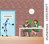robot employee walk into door...   Shutterstock .eps vector #1335159077
